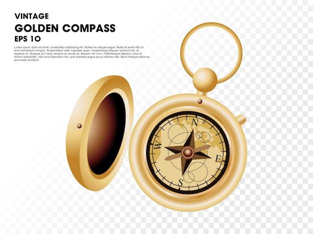 Vintage golden compass