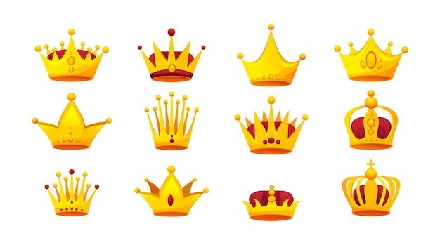 ヴィンテージゴールデンクラウンセット。権威の宝石のシンボルで飾られた王室の王または女王の頭飾り。装飾が施されたアンティークの紋章の豪華なモナークヘッドギア。中世の貴族戴冠式サインフラットベクトル