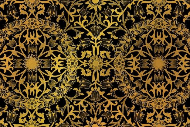 ウィリアムモリスによるアートワークからヴィンテージ黄金の花の背景のリミックス