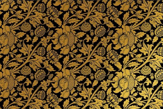 ウィリアムモリスによるアートワークからのヴィンテージ黄金の花の背景ベクトルリミックス
