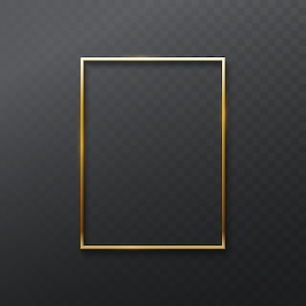 Vintage golden frame isolated on transparent dark background