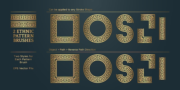 Vintage golden geometric pattern borders frames set