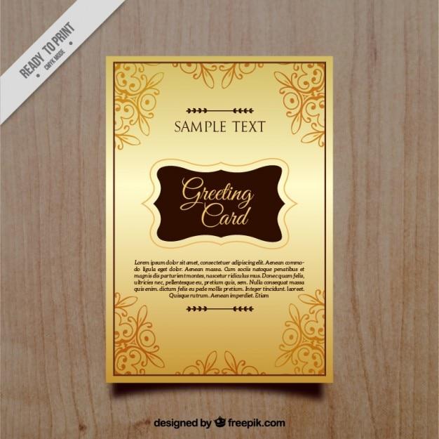 Vintage golden greeting card