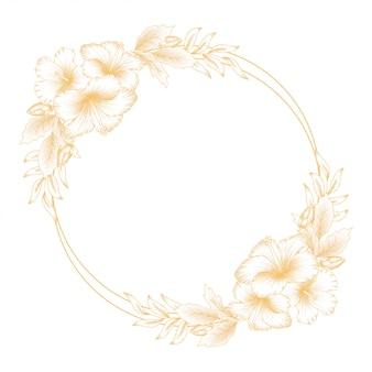 Vintage golden hibiscus floral wreath