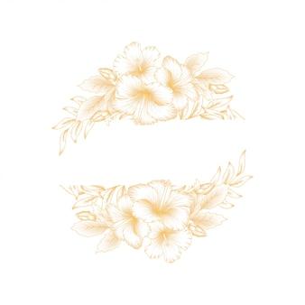 Vintage golden hibiscus flower border
