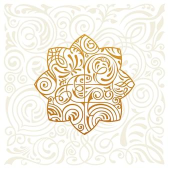 Vintage golden logo design eastern star on floral background
