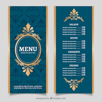 Винтаж золотого шаблона меню с барочным стилем
