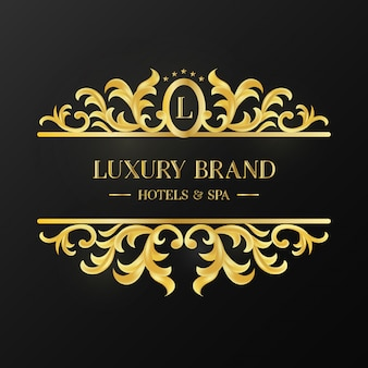 Vintage Golden Ornament Logotype of Luxury Brand