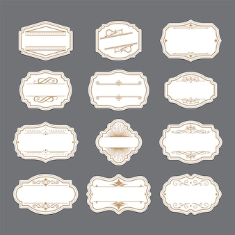 Vintage golden ornate labels set