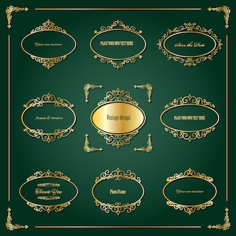 Vintage golden oval frames and borders set