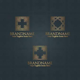 Урожай золотой ретро логотип коллекция