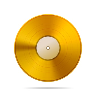 Vintage golden vinyl disc template on white