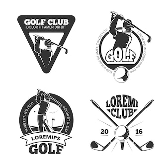 Vintage golf club labels, emblems, badges and logos.