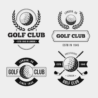 Vintage golf logo collection in monochrome