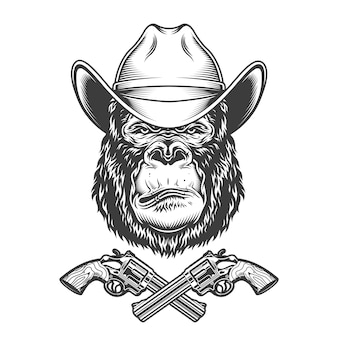Vintage gorilla head in cowboy hat
