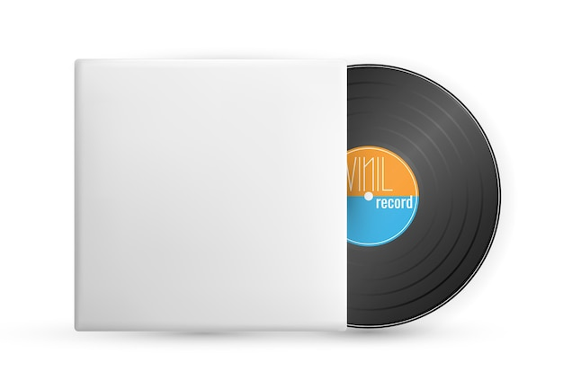 Vintage gramophone disc isolated on white