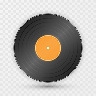 Vintage gramophone disc on transparent background