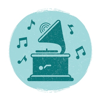 Vintage gramophone music notes emblem