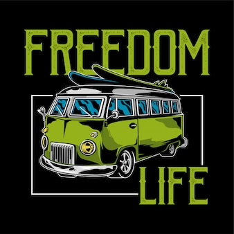 Vintage graphic old school car for freedom  life, hippie illustration