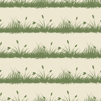 Vintage grass and bushes silhouettes
