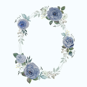 Vintage gray blue rose and green leaves with light wire round oval frame