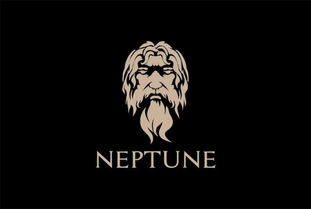 Винтажный греческий старик с лицом бога зевса тритона нептуна, философа с бородой и усами, вектор дизайна логотипа