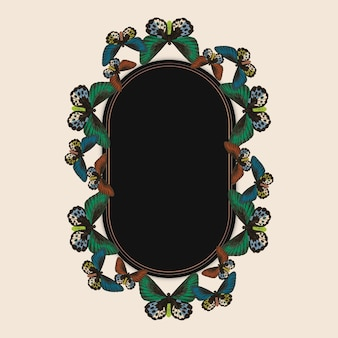 Vintage green butterfly pattern vector frame, remix from the naturalist's miscellany by george shaw