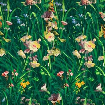 ヴィンテージ緑の花の背景ベクトル