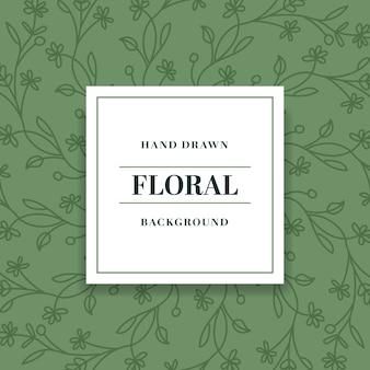 Vintage green hand drawn floral background