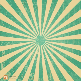 Vintage green rising sun or sun ray, sun burst retro background design