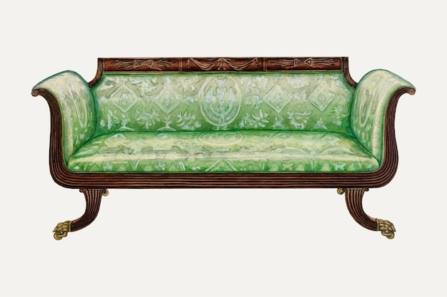 Vintage green sofa vector illustration, remixed from the artwork by nicholas gorid
