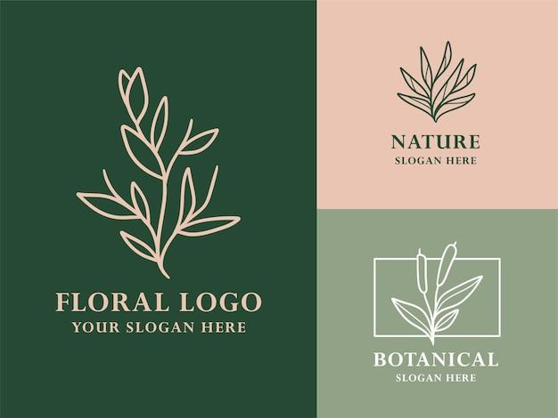 Vintage green, white, pink, hand drawn leaf botanical logo illustration design set for beauty, natural, organic brand