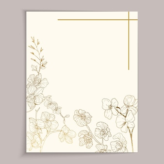 Vintage greeting card template design with gold flowers for wedding