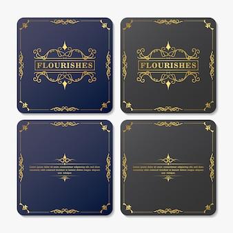 ビンテージグリーティングカードテンプレート。レトロな結婚式の招待状。装飾用フレームが盛ん