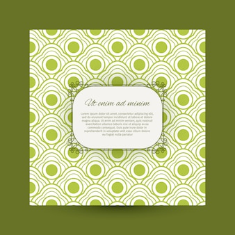 Vintage greeting card with green pattern
