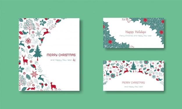 幸せな休日、クリスマス、新年の招待状のテキストとビンテージグリーティングカード