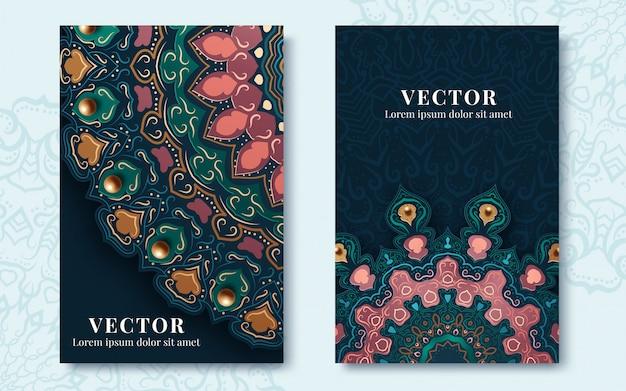 Старинные открытки с завитками и цветочными мотивами в стиле ретро