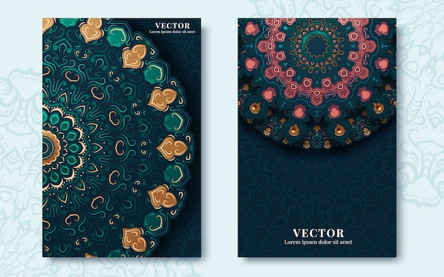 Vintage greeting cards with swirls and floral motifs in retro style