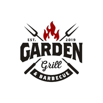 Vintage gril barbeque logo design