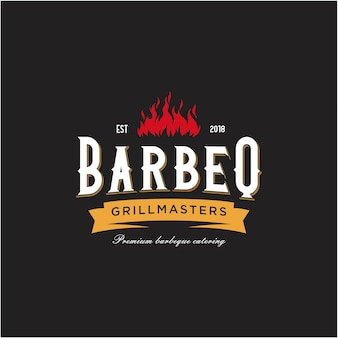Vintage grill barbecue emblem with crossed fork and fire flame logo design
