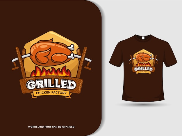 Vintage grilled chicken cartoon logo with editable text and t shirt