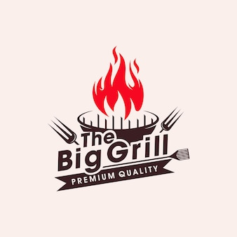 Vintage grills barbecue with fork and fire flame logo