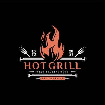 Vintage grills barbecue with fork and fire flame logo Premium Vector