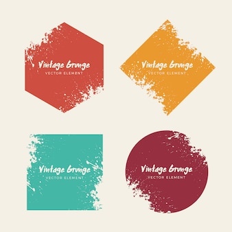 Vintage grunge distressed backgrounds shapes collection