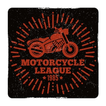 Vintage grunge motorcycle league emblem
