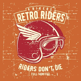 Vintage grunge style helmet retro rider illustration