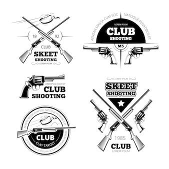ヴィンテージガンクラブのラベル、ロゴ、エンブレムセット。バッジと銃、武器のライフル、ベクトル図