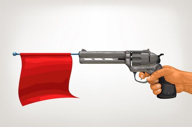 Старинный пистолет с красным флагом