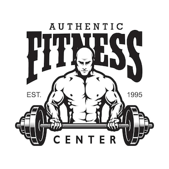 Vintage gym and fitness logotype