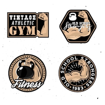 Vintage gym logotypes, old school strongers signs with healthy muscle arm as a main object of label.